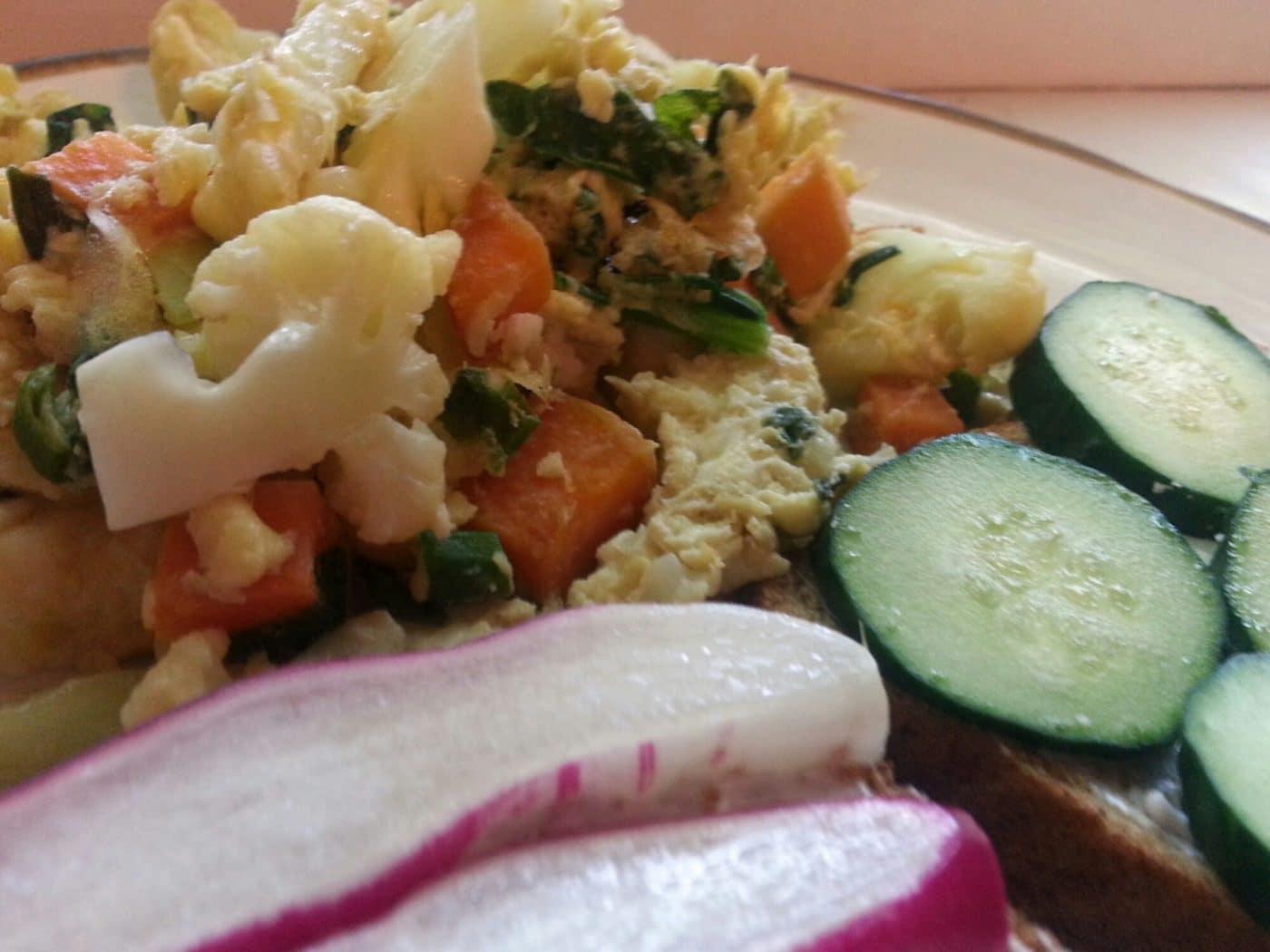 Quick Dinner Recipe: Mixed Veggie Scramble with Radish Toast